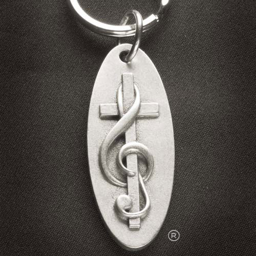 choir-gift-crossclef-oval-pewter-keychain