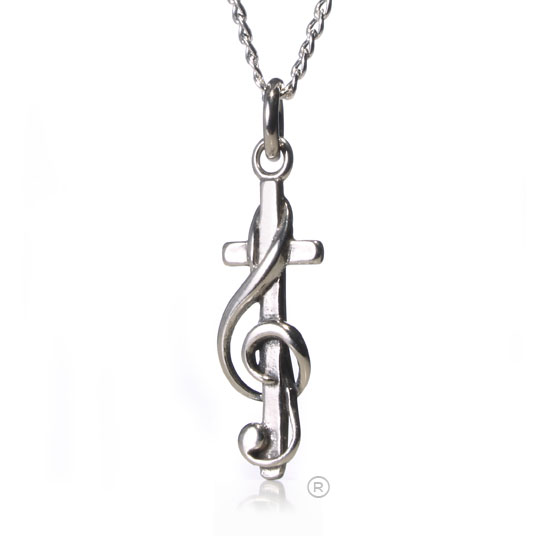 Choir Gift CrossClef Petite Silver Necklace