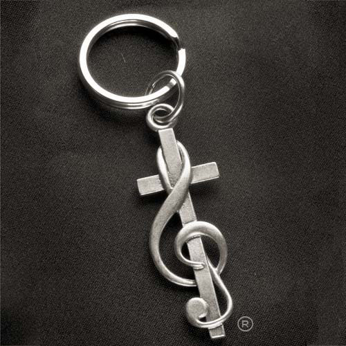 Choir Gift CrossClef Pewter Keychain