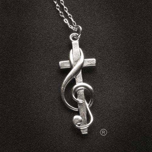 Choir Gift CrossClef Silver Necklace